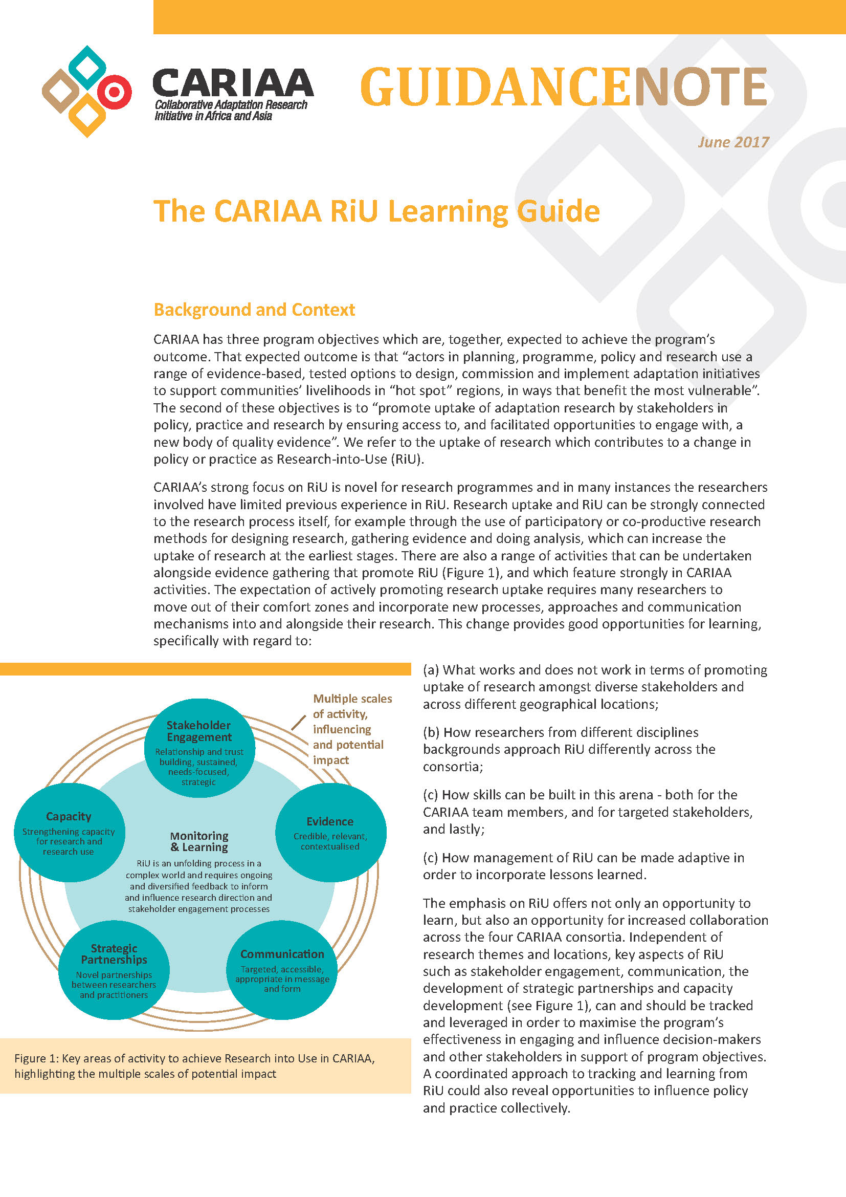 CARIAA's RiU Learning Guide